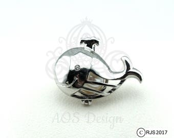 Pick A Pearl Cage Necklace Silver Plated Happy Whale Ocean Locket Charm Holds Pearl Bead Gem Beach Animal Cute