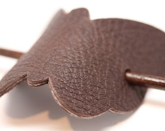 Simple and Unique: Dark Brown Leather Butterfly Hair Barrette with stick. Women's Hair Accessory Made in USA!