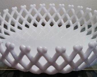 """Westmoreland Glass Milk Glass Basket Weave Bowl Mid Century Art Glass Decorative Collectible 8 3/4"""" Diameter Signed Intertwined W & G"""