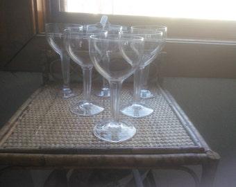 Vintage Set of Six Hollow Stem Wine Glasses or Champagne Glasses - Hollow Stem Glasses - Coupes