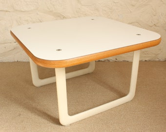 Knoll 70s White Side Table - Hannah & Morrison End Table , Modern, Laminate, Plywood, Aluminum, Living Room