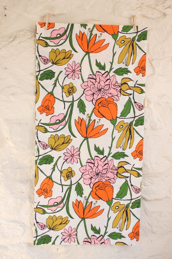 Vintage 50s Robarre Cotton Floral Fabric Orange, Ochre, Pink, Green