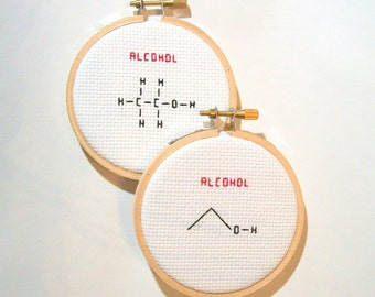 Alcohol molecule, skeletal or molecular line structure -- pick one completed cross stitch