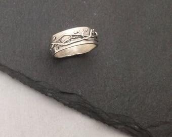 OOAK Fine silver ring with detail, handmade, unusual