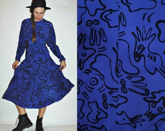 1980s Doodle Print Iris Purple Silk Dress