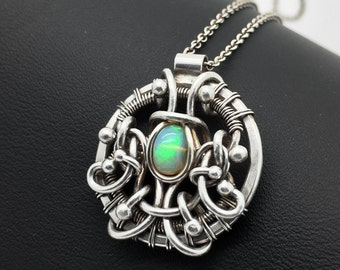 Opal pendant, Ethiopian opal, Opal jewelry, Wire wrapped pendant, Silver opal pendant, October birthstone