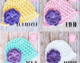 Crochet Spring Hat, Baby Flower Hat, Baby Girl Spring Hat, Baby Girl Summer Hat, Purple Flower, Crochet Flower Hat, Crochet Summer Hat
