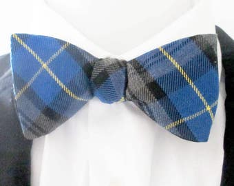 Men's bowtie  ~  Plaid ~ tartan blue, black and grey with a yellow stripe ~ blue plaid