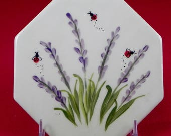 hot plate/trivate/ceramic/functional/gift/made in USA/lavender and ladybug design/kitchen utensil/kitchen tile/stoneware