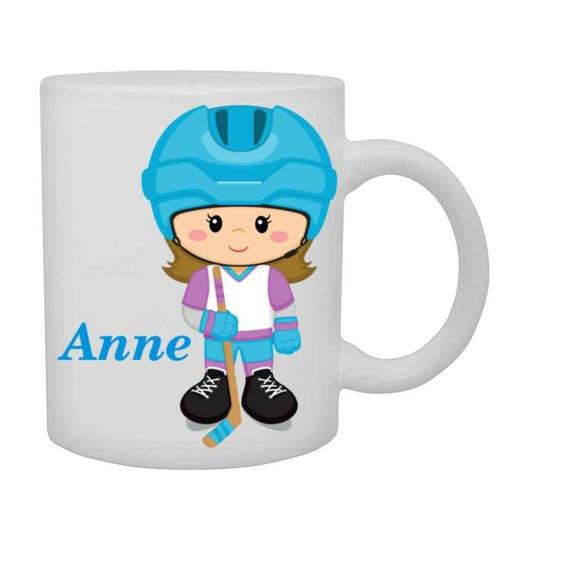 girls hockey cup, girls hockey mug, personalized girl cup, customized mug, girl sports cup, mug with name, girl hockey player cup