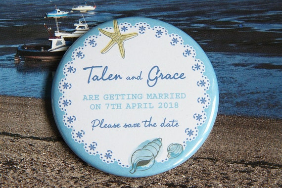 SEASHELL BEACH design - Save the Date Magnets x 40