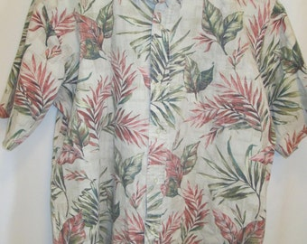 vintage, Reyn Spooner Hawaii leaf flower print mens reverse short sleeve button down collar size large