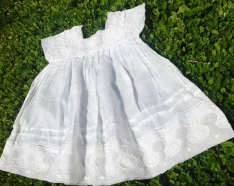 Antique French Hand Embroidered Muslin Cotton Tulle Baby Dress