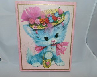 """Vintage 1970s Large Pastel Pets Happy Birthday Greeting Cards 8""""x 10"""" 2 cards with Envelopes Cat Dog"""