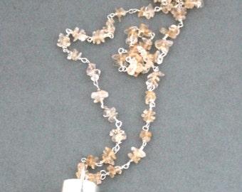 Long Quartz Crystal Point Pendant Necklace, Boho Orange Quartz Necklace, Citrine Chain Necklace, Yellow Citrine Sterling Silver Necklace