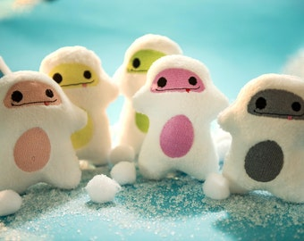 Yeti abominable snowman Mini Snow Stuffies-Easter filler-baby basket stuffers, keychain ornament-Easter, custom plushie stuffed animal