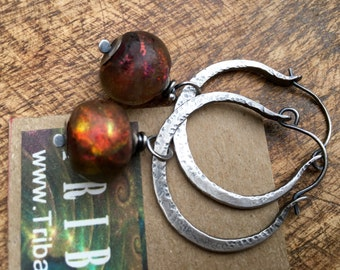 Rustic Artisan Sterling Silver 'Because the Wind is High' Hoops earrings n.27- Iridescence artisan lamp work . shimmery red pinkish bead