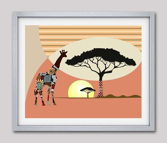 African Safari Decor, Giraffe Print, Nature Decor, Giraffe Wall Art, African Animal Print, Giraffe Painting