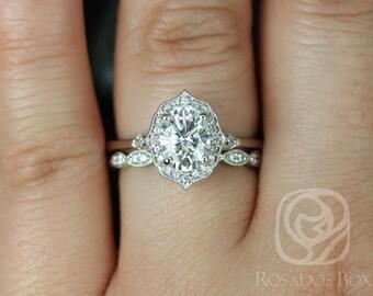 Rosados Box Mae 8x6mm & Christie 14kt White Gold Oval F1- Moissanite and Diamond Halo Wedding Set