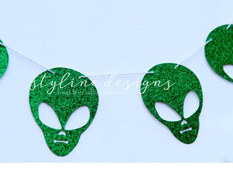 Green Glitter Aliens Garland - Humor Decoration - Event or Room Decor -  Bunting