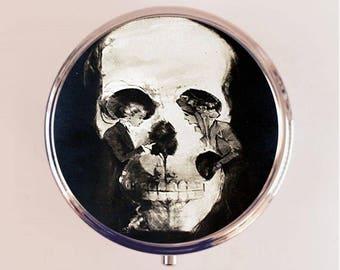 Skull Optical Illusion Pill Box Case Pillbox Holder Stash Trinket Box Goth Metamorphic Two Women