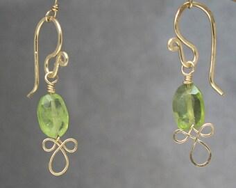 Petite Peridot Gemstone Drop Dainty Earrings Victorian 327