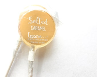 Salted Caramel Hard Candy // 6 Lollipops // Party Favors // Wedding Favors // Fall Wedding Favors // Add Custom Labels