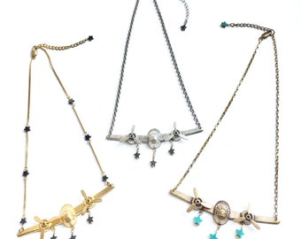 Fabulous 3D Airplane Necklaces with Spinning Propellors and Gemstone Star Beads