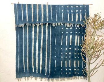 Vintage African Indigo Textile Indigo Throw African Indigo Fabric Indigo Cloth Indigo Shawl Hand dyed indigo fabric #80