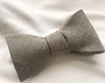 Men's Light Grey Heather Adjustable Bow Tie (Self Tie)
