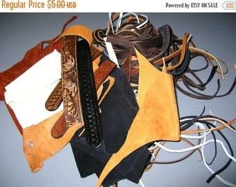 Christmas Sale 2 Lbs Leather Scrap - Suede Scrap - Leather Cord - Leather Destash