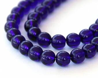 Cobalt Czech Glass Beads, 8mm Round - 25 pcs - e3009-8r