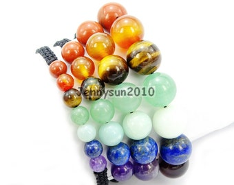 Style #1 Natural Reiki Chakra Gemstones Round Beads Handmade Adjustable Bracelet Healing Jewelry ...