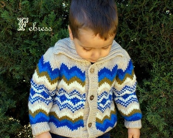 ALPACA wool,Children jacket 2 to 5 years old, jacquard jacket, boy sweater, boy alpaca jacket, hand knitted, Febress.