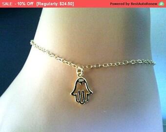 Hand in Hand 14k Gold Filled bracelet , Anklet, Bangle,Friendship, Birthday Gift, Lovely Gift - Vermeil hamsa hand