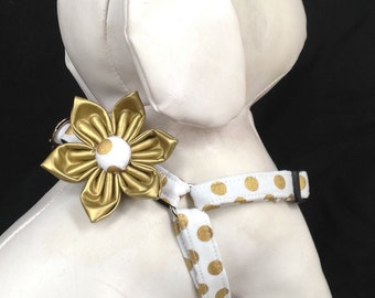 Step in Dog Harness Flower Set / White And Gold Polka Dot - Size XXS, XS, S, M
