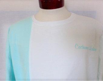 vintage 80s Cachuma Lake California asymmetric multi color pastel turquoise sky blue yellow color block panel graphic sweatshirt crewneck XL