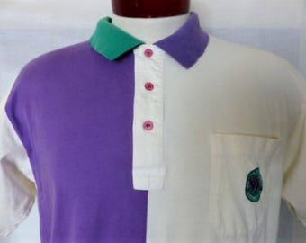 vintage 80's 90's Wimbledon The Championship Tennis pastel purple green white color block panel jersey knit polo shirt embroider logo Large