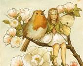 Maggie Among the Magnolias Print 8x10 - fairy, bird, floral, fairie, children's art, nursery, flowers, whimsy, robin, spring, woodland, cute