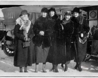 Old Photo Women wearing Coats and Hats one Holding Camera Car in Background Photograph Snapshot