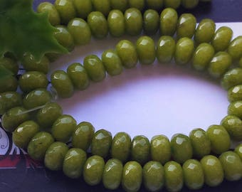 "Peridot green jade faceted rondelle beads 7"" strand,semi-precious stone,DIY jewelry beads, jewelry supply"