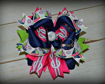ON SALE / Set Sail Boat Collection Boutique Style Bow / Hair Bow / Hairbow / Layered Bows / Summer / Anchor / Beach / Boutique Bows