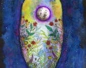 RESERVED for Jennifer - Night Garden. Original Watercolor painting, 8x10