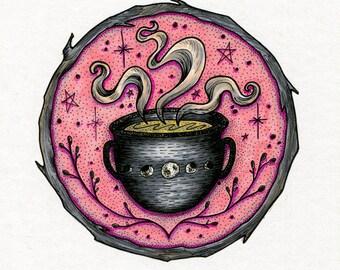 "Original Illustration 5x7"" - Tea Cauldron"