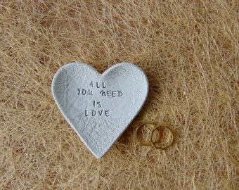 All You Need is Love 12 Wedding Favors, 12 Wedding Heart Dish Favors, Clay Wedding Favors, Ring Bearer Dish