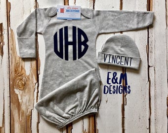 Baby Boy Coming Home Outfit/ Personalized Infant Baby Gown and Hat/ Monogrammed Baby Boy/ Baby Shower Gift/ Newborn Pictures/Navy and Gray