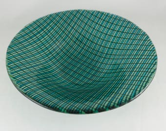 Blue and green plaid glass bowl