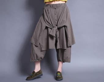 linen wide leg pants cotton pants trousers irregular pants