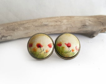 Round Stud Earrings, Hand Painted Poppy Earrings, Red Flowers Jewelry, Poppies Earrings, Original Painting Jewelry, Handmade Earrings
