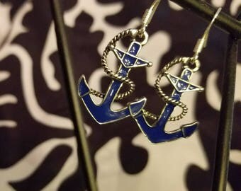 Blue Anchor earrings with sterling .925 silver posts